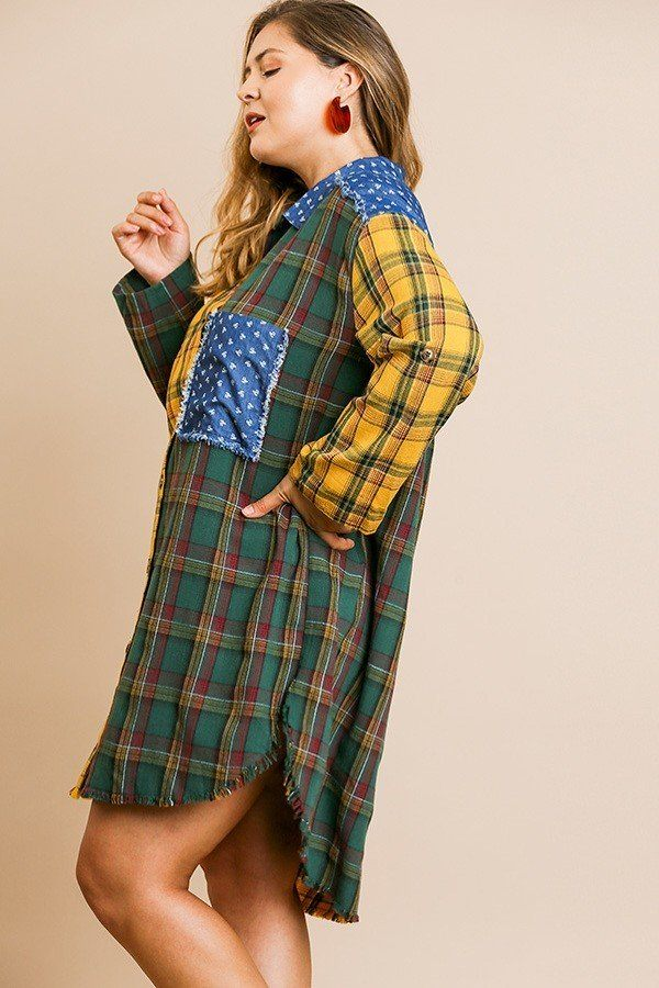Plaid Mixed Print Long Roll Up Sleeve Collared Button Front Dress