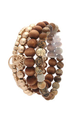 Family Tree Charm Beaded Stackable Bracelet Set