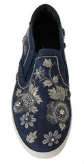 Denim Crystal Floral Mens Loafers Shoes