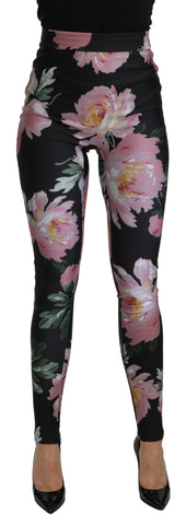 Black Floral High Waist Leggings Nylon Pants