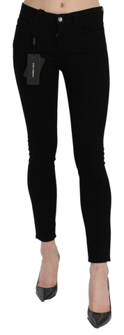 Black Mid Waist Skinny PRETTY Cotton Jeans