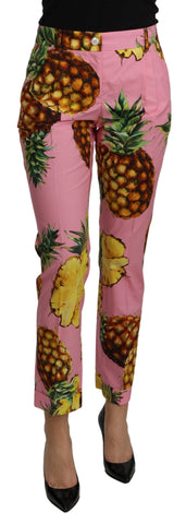 Pink Pineapple High Waist Skinny Cotton Pants