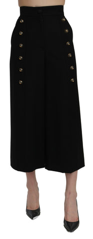 Black High Waist Wide Leg Cropped Pants