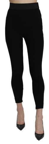 Black High Waist Leggings Cotton Stretch Pant