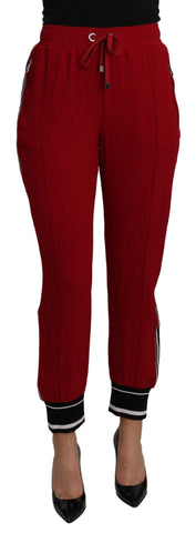 Red High Waist Sweatpants Stretch Pants