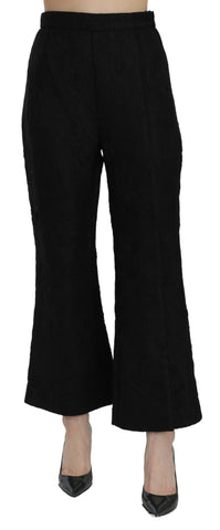 Black High Waist Flared Cropped Brocade Pants