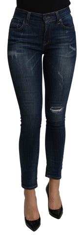 Blue Mid Waist Slim Fit Cropped  Cotton Jeans