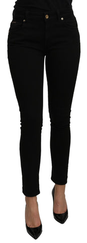 Black Mid Waist Slim Fit Slim Fit Cotton Jeans Pant