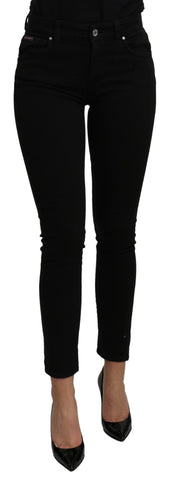 Black Mid Waist Slim Fit Denim Cotton Jeans