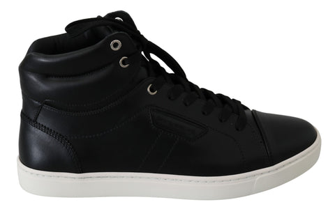 Black Leather DG Logo High-Top Shoes Sneakers