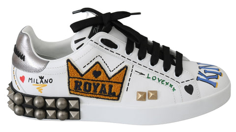 White Leather King of Love Royal Sneakers Shoes