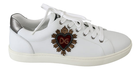 White Leather Beaded Red Heart Mens Sneakers Shoes