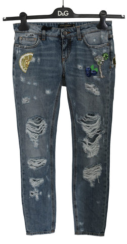 Blue Ripped PRETTY Trouser Cotton Jeans