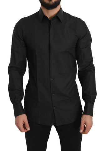Black Cotton GOLD Slim Fit Solid Shirt