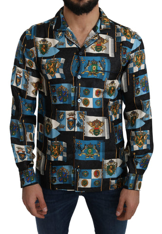 Blue Silk Coat of Arms Casual Shirt