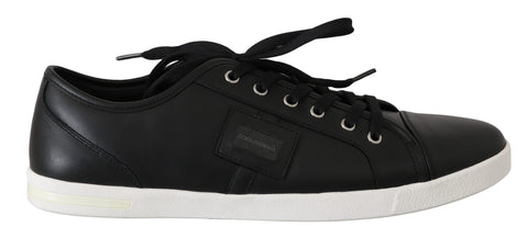 Black Logo Leather Casual  Sneakers Shoes