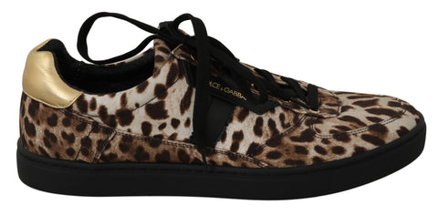 Brown Leopard Cotton Leather Sneakers