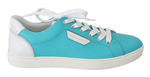 Blue Logo Leather Casual Sneakers