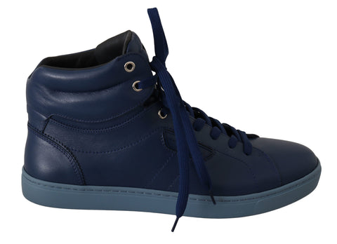 Blue Leather Mens High Top Sneakers