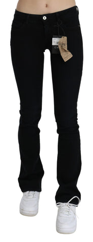 Black Low Waist Skinny Denim Cotton Jeans
