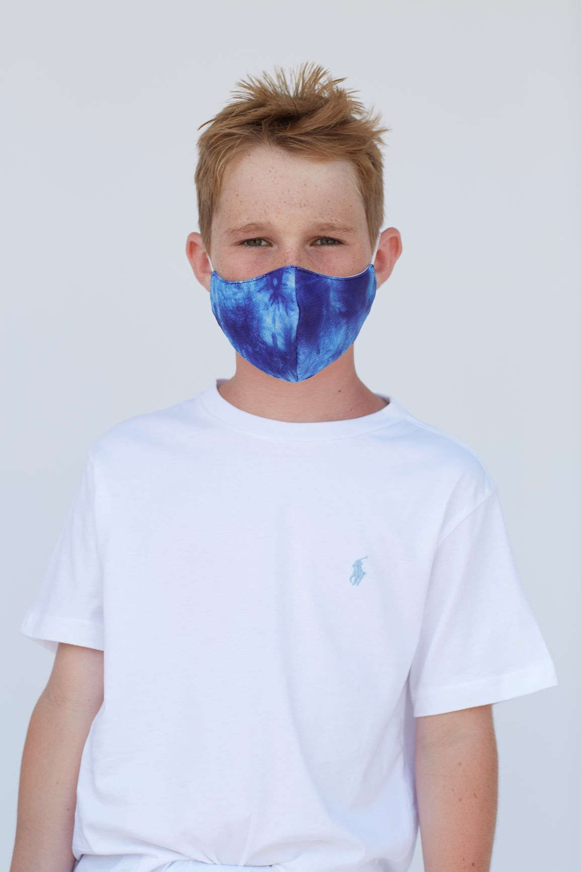 Youth Blue Tie Dye Face Mask