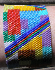 Abstract peyote bracelet using Beadstampede Miyuki Delica and Toho Treasure beads