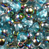 Czech 6mm Druk Beads in Aqua Vitrail