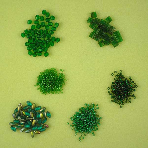 Emerald-themed beads from www.beadstampede.co.uk