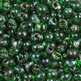 Miyuki 3.4mm drop bead Transparent Green Picasso #4507