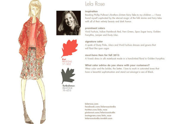 Lela Rose Fall Winter Autumn 2013 Pantone Color Report Forecast