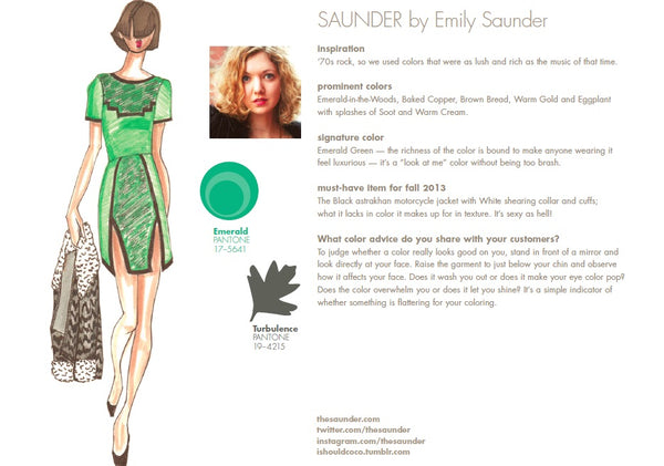 SAUNDER by Emily Saunder Fall Winter Autumn 2013 Pantone Color Report Forecast