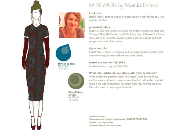 M.PATMOS by Marcia Patmos Fall Winter Autumn 2013 Pantone Color Report Forecast