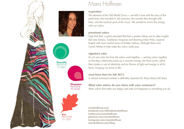 Mara Hoffman Fall Winter Autumn 2013 Pantone Color Report Forecast