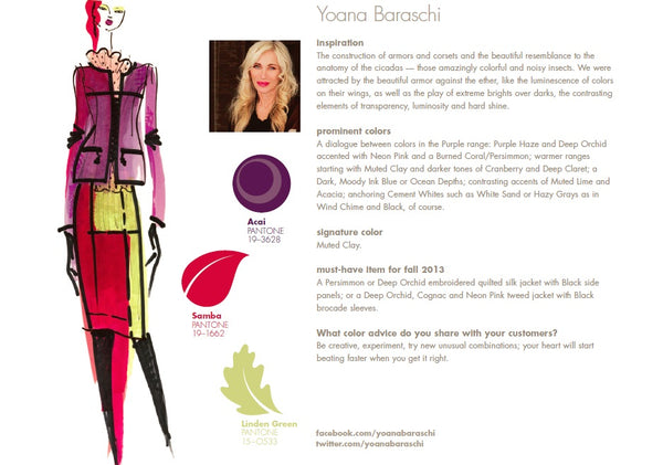 Yoana Baraschi Fall Winter Autumn 2013 Pantone Color Report Forecast