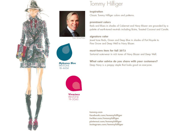Tommy Hilfiger Fall Winter Autumn 2013 Pantone Color Report Forecast