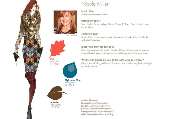 Nicole Miller Fall Winter Autumn 2013 Pantone Color Report Forecast