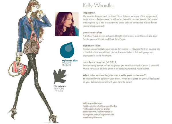 Kelly Wearstler Fall Winter Autumn 2013 Pantone Color Report Forecast