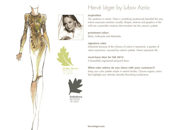 Herve Leger by Lubov Azria Fall Winter Autumn 2013 Pantone Color Report Forecast