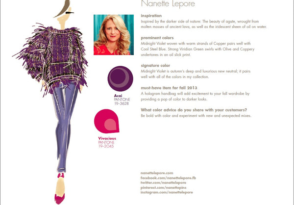 Nanette Lepore Fall Winter Autumn 2013 Pantone Color Report Forecast