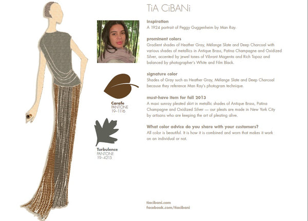 TiA CiBANi Fall Winter Autumn 2013 Pantone Color Report Forecast