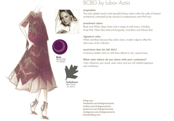 BCBG by Lubov Azria Fall Winter Autumn 2013 Pantone Color Report Forecast