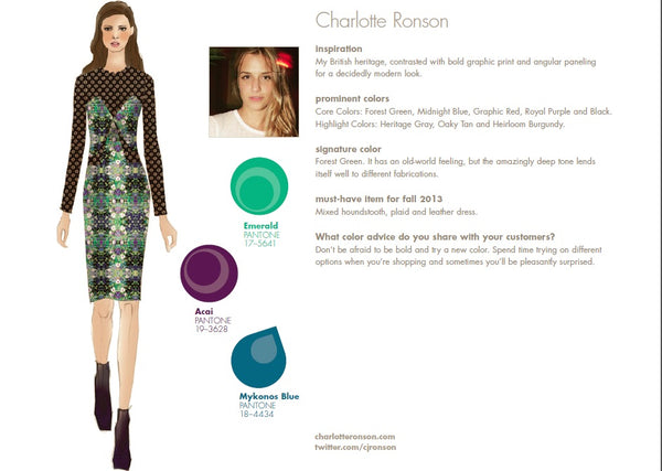 Charlotte Ronson Fall Winter Autumn 2013 Pantone Color Report Forecast