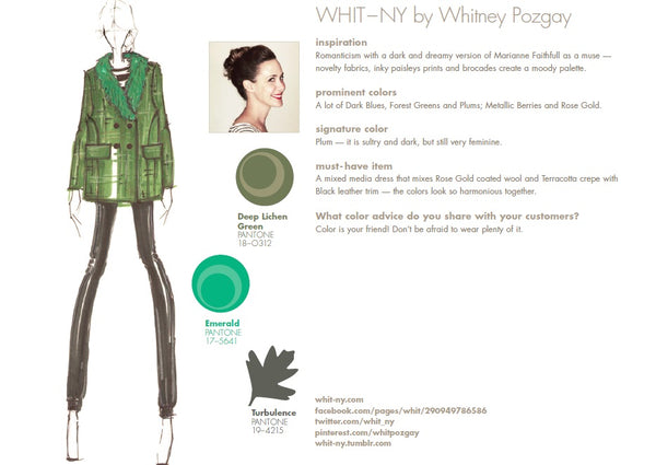 WHIT-NY by Whitney Pozgay Fall Winter Autumn 2013 Pantone Color Report Forecast