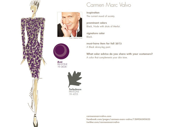 Carmen Marc Valvo Fall Winter Autumn 2013 Pantone Color Report Forecast