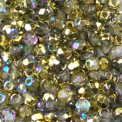 Crystal Rainbow Golden - 3mm Czech Fire-Polished Beads