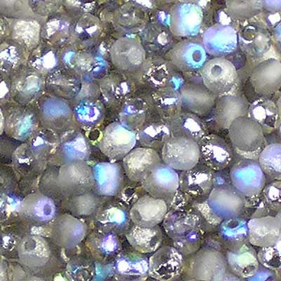 Etched Crystal Rainbow Graphite - 3mm Czech Fire-Polished Beads