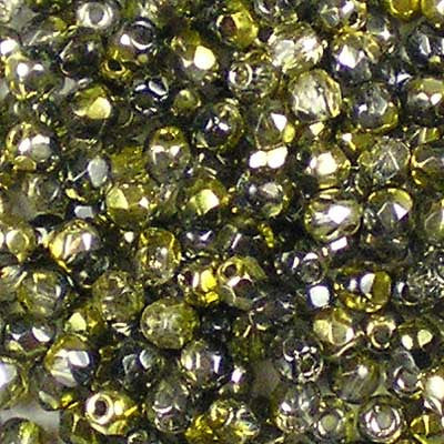Golden Magic Onyx - 3mm Czech Fire-Polished Beads