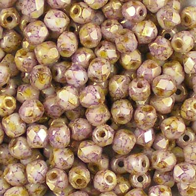 Lila (Lilac) Gold Lustre - 3mm Czech Fire-Polished Beads