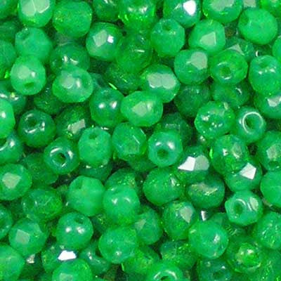 Milky Emerald Green - 3mm Czech Fire-Polished Beads