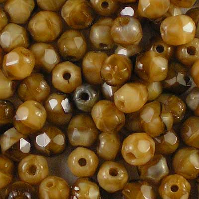 Beige Tortoiseshell - 4mm Czech Fire-Polished Beads